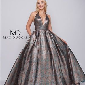 Mac Duggal Gown 66731H Teal/Copper Size: 0 - NWT